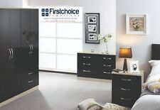 Ready Assembled Black Ivory Gloss Wardrobe Drawer Complete Bedroom Furniture Set