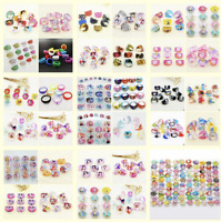 10 x Kids Rings Party Bag Filler Supplies Princess Pig Dogs Flowers Pirates