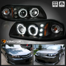 Black 2000-2005 Chevy Impala Dual Halo LED Projector Headlights Left+Right