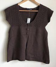 Womens Medium Brown Knit Cardigan Crochet Vest