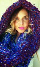 Supersized Hoodware Scarf-Cowl oversized Infinity Hood artisan yarn Silk Wool