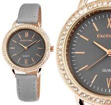 Damen Armbanduhr Grau/Rosegold Crystal Kunstlederarmband von Excellanc 190/080