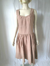 Linen Patternless Round Neck Casual Dresses for Women