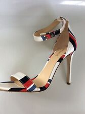 Monse red white blue satin heels sz 38 or 8 New in box, retail $890