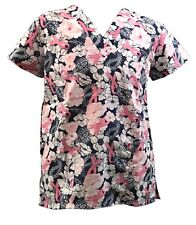Womens Fashion Medical Nursing Scrub Tops White Pink Flower Ribbon S