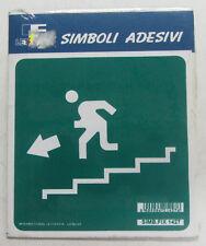 Targhetta segnaletica adesiva Letterfix Verde uscita emergenza in basso sinistra