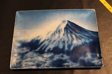 Tutanka Mt Fiji Blue Enamel Vintage Plate Dish rectangular Japan