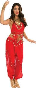 Deluxe Embellished Red Belly Dancer Sexy Adult Harem Girl Costume Large 14-16