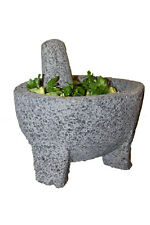"7"" GUACAMOLE MOLCAJETE MORTAR AND PESTLE  HAND CARVED BASALT LAVA STONE"
