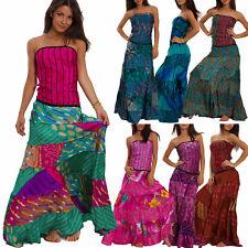 Kleid Frau Lang Ethnisch Ibiza Kleid Rock Breite Boho Gipsy Sexy IND-401