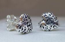 Authentic Pandora #297693 Sterling Silver Regal Hearts Stud Earrings winter ale