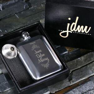 Personalised 6oz Whiskey Hip Flask Gift for Men Groomsmen Ushers Weddings