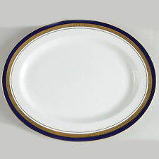 """COBALT ROYALE by Aynsley Platter 16"""" long NEW NEVER USED 24kt gold made England"""