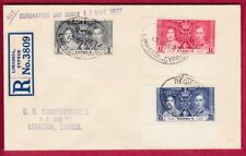 R* CYPRUS CIRCULATED FDC 1937 CORONATION DAY KGVI Mi nr. 133-135 #7385