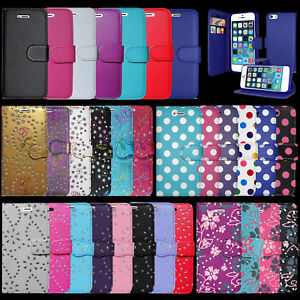 LEATHER WALLET BOOK FLIP PROTECTIVE PHONE CASE COVER FOR APPLE IPHONE 7 & MORE