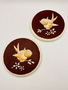 Vintage Hand Painted Chalkware Round Wall Plaques Singing Birds (Set of 2)