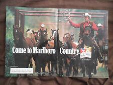 1983 Print Ad Marlboro Man Cigarettes Western Cowboy Horse Chute