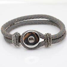 Snap It Gray Braided Leather Bracelet For Ginger Snaps Style Buttons Size MEDIUM