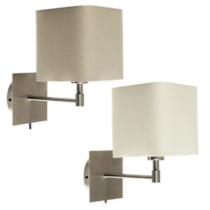 Metal Plug In LED Wall Light Fittings Square Design Lighting Fabric Lampshades