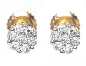 14k Yellow Gold Mens/Ladies Round Diamond Flower Cluster Studs Earrings 5mm
