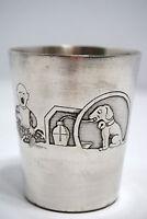 Raro Bicchiere di Metallo Benjamin Rabier Argentato Inizio Xx Caricatura Humour