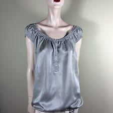 HUGO BOSS Damen Bluse Gr S 36 Grau Seide Baumwolle Oberteil Hemd Top Tunika