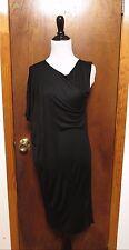 Zero Maria Cornejo Black Rayon Silk A-symmetrical Sleeve sheathi Dress Sz XS