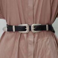 Fashion Womens Vintage Metal Boho Leather Double Buckle Waist Belt Waistband