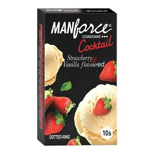Manforce Cocktail Condoms with Dotted-Rings, Strawberry & Vanilla Flavoured- 10