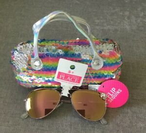 New With Tag The Children's Place Girls Sequins Rainbow Unicorn Sunglasses&Case