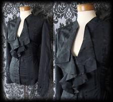 Gothic Black Frilled Stripe GOVERNESS High Neck Blouse 10 12 Victorian Vintage