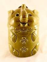 RARE! Elephant 8 In. Tall Ceramic Cookie Jar. Made In Japan. Green