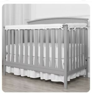 TILLYOU 3-Piece Padded Baby Crib Rail Cover Protector Set Safe Teething white