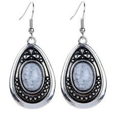 Vintage Style Tibetan Silver Plated WHITE TURQUOISE Water-Drop Earrings Jewelry