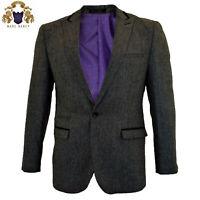 Mens Marc Darcy Tweed Grey Blazer Casual Dinner Jacket Tailored Fit