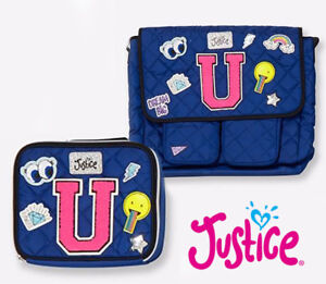 """New Justice Quilted Patch Initial """"U"""" Messenger Bag and Lunch Tote Set Blue NWT"""