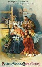 Victorian Nativity Christmas Fabric Block Baby Jesus Mother Mary Manger Angel