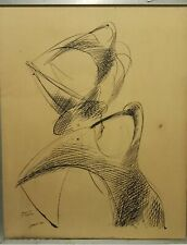 """S.Greco Artist Pen On Board Painting """"Birds"""" Drawing Art Private Collection Rare"""