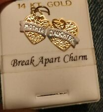 MOTHER and DAUGHTER Break Apart Hearts Charm In 14k Yellow and white Gold