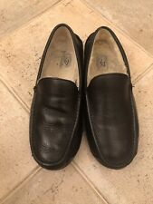 UGG Ascot Black Leather Slippers Shoes size  UK 13 EU 48.5 US 14