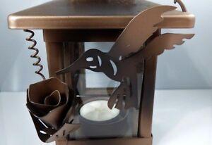 Hummingbird and Flower Hanging Candle Holder Lantern Glass Bronze Tone Metal
