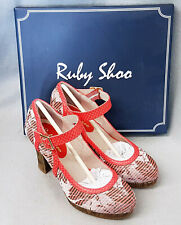 Ruby Shoo Cassandra Coral Mary Jane Strap Ladies High Heel Platform Shoes Size 4