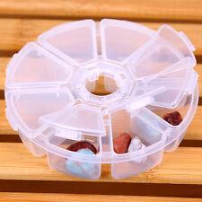 Rund 8 Slots Kunststoff Aufbewahrungsbox Schmuck Boxen Schmuckkoffer Pillenbox