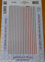 Microscale Decal HO #91105 UP Striping - 3 and 4¾ Widths - Red