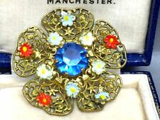 Vintage  Czech  Flower Enamel and Glass Filigree Brooch