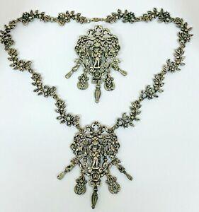 Vintage Miracle Cherub Rococo Style Necklace & Brooch Set