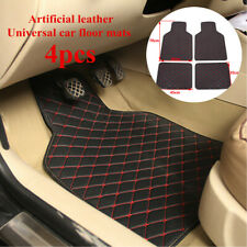 4PCS Waterproof  Car Floor Mats Liners Carpets Black+Red Line  Leather Styling