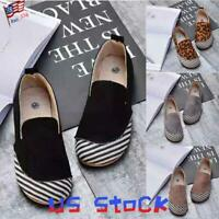 Fashion Women Flat Slip On Casual Shoes Striped Leopard Printed Loafers Comfy US
