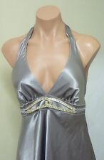 Gorgeous Silver Halter Neck Low back Formal/Evening dress. Brand New (Size S)