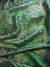 """5 M Nuovo Paisley Emrald broccato verde metallizzato tessuto Jacquard 58"""" larghezza £ 29.99"""